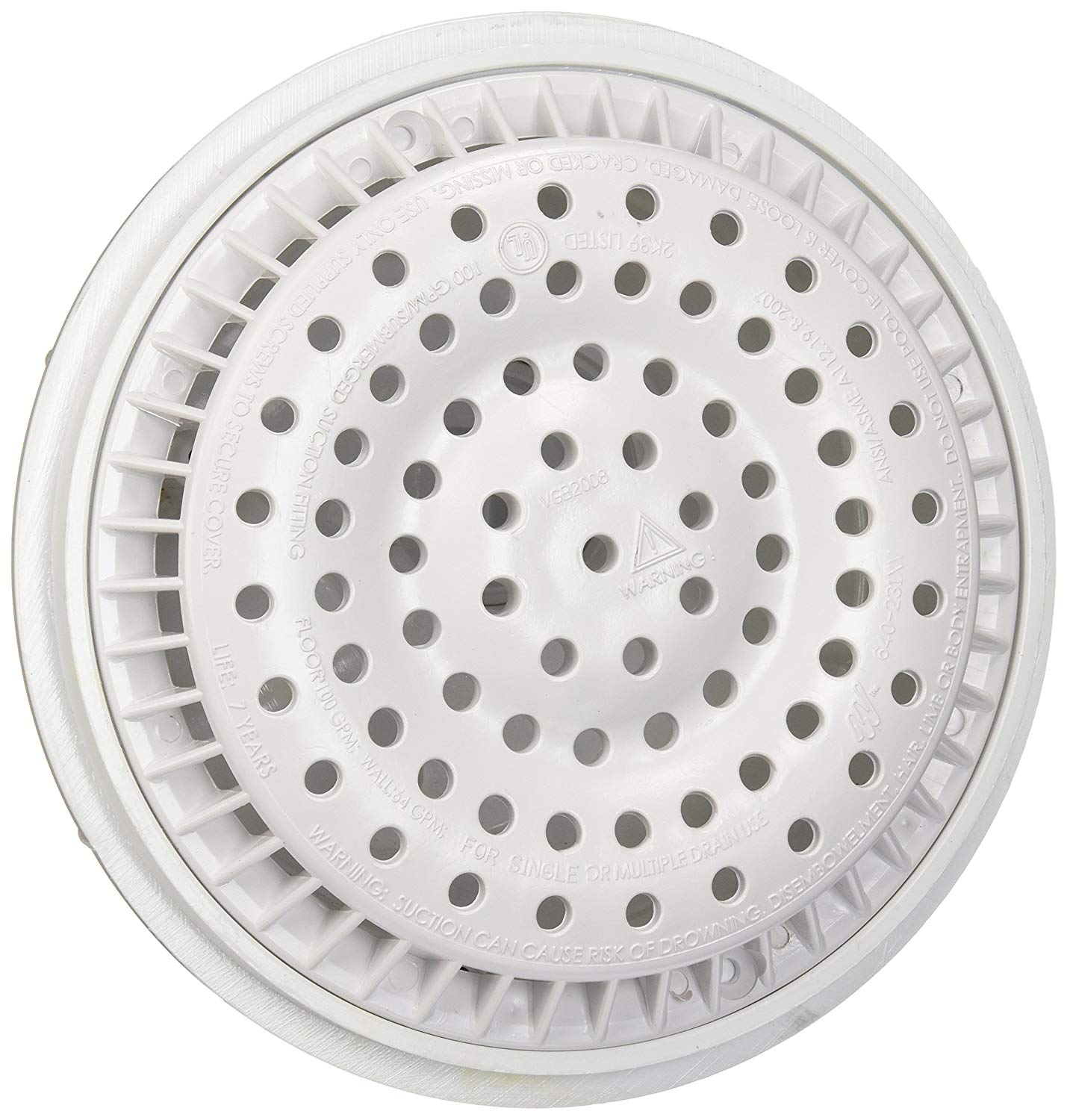 Poweka 640-2550 Main Drain Av, 2-Inch, White